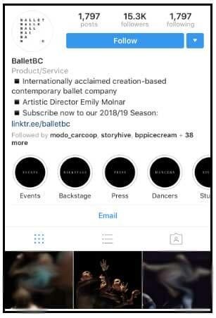 بیو اینستاگرام - Ballet BC