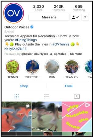 بیو اینستاگرام - Outdoor Voices