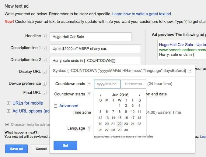شمارش معکوس گوگل ادوردز - ایجاد تبلیغات سفارشی شده در شمارش معکوس گوگل ادوردز