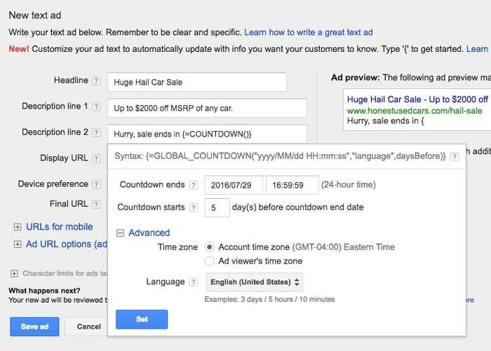 شمارش معکوس گوگل ادوردز - جزئیات فروش را پر کنید