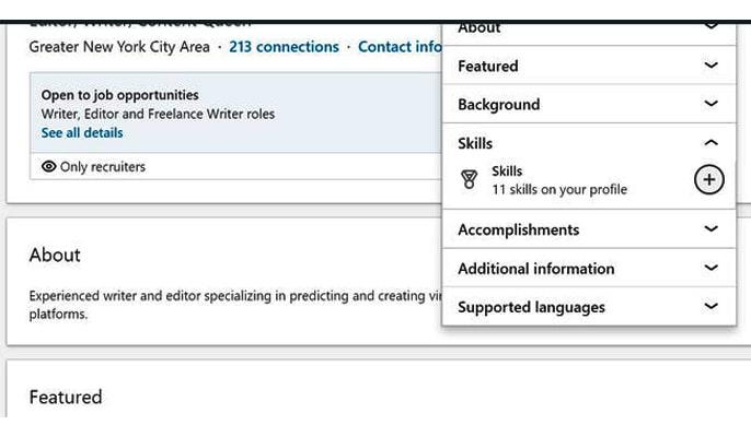 ساخت لینکدین - افزودن مهارتها