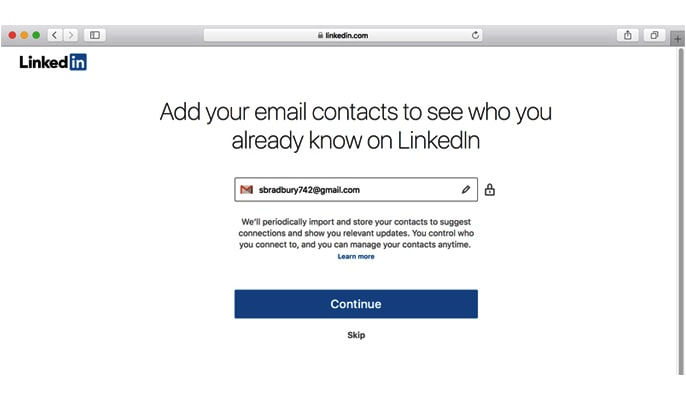 ساخت لینکدین - همگام سازی مخاطبین ایمیل و سایر اطلاعات