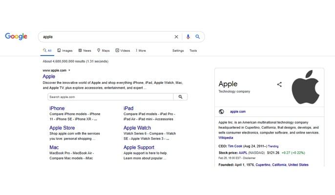 سایت لینک در SERP - اپل در SERP