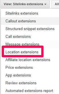 Google Maps - گزینه Location extensions