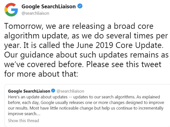 آپدیت الگوریتم جون 2019