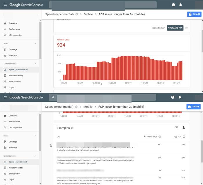 سرعت در گوگل سرچ کنسول