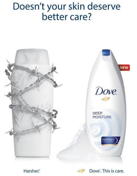 تبلیغات مقایسه ای - Dove در مقایسه با تبلیغات دیگر