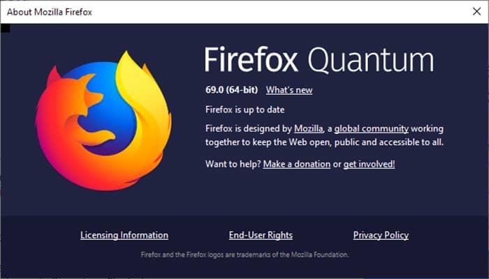 حریم خصوصی- About Mozilla Firefox