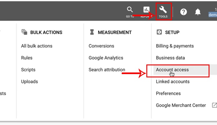 لینک کردن گوگل آنالیتیکس به گوگل ادوردز - گزینه Access account