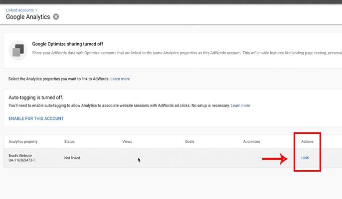 لینک کردن گوگل آنالیتیکس به گوگل ادوردز - ستون Action