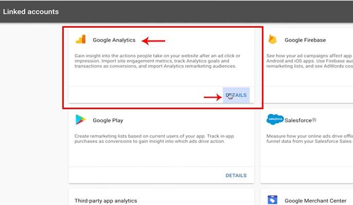 لینک کردن گوگل آنالیتیکس به گوگل ادوردز - گزینه Details