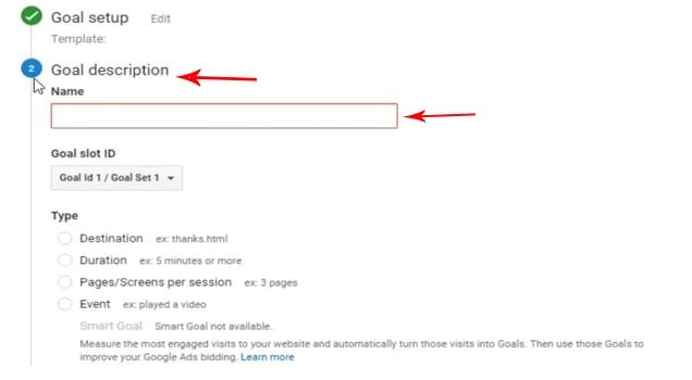 Goal در گوگل آنالیتیکس - بخش Goal Description