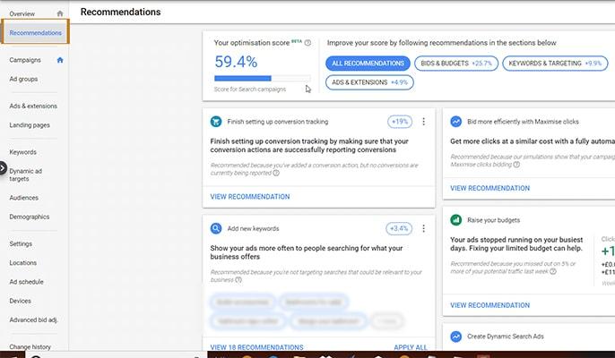 تبلیغات گوگل برای کسب و کارها - recommendation را بررسی کنید