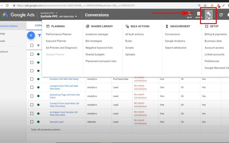 conversion tracking - بخش تنظیمات ادوردز