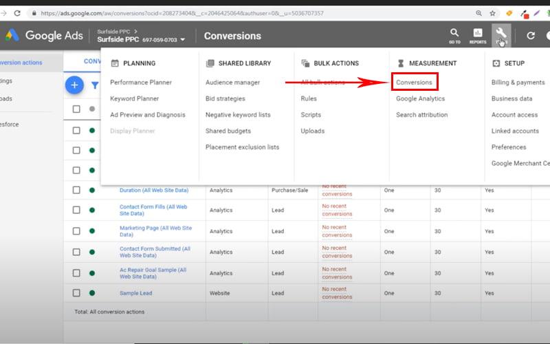 conversion tracking - از بخش Measurement گزینه conversion