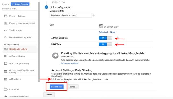 لینک کردن گوگل آنالیتیکس به گوگل ادوردز - گزینههای All Website Data و RAW view