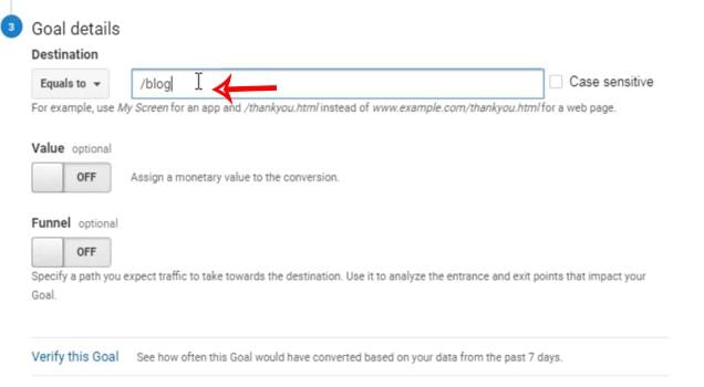 Goal در گوگل آنالیتیکس - دسته بندی blog
