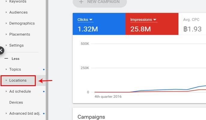 مدیریت هزینه ها در گوگل ادز - تنظیم تبلیغ ادوردز برای لوکیشن خاص
