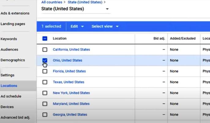 مدیریت هزینه ها در گوگل ادز - تبلیغ ادوردز برای لوکیشن خاص