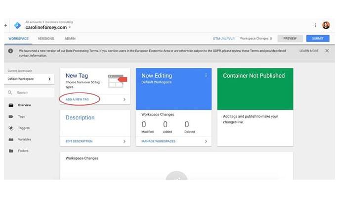 گوگل تگ منیجر چیست - ایجاد تگ جدیدی در داشبورد گوگل تگ منیجر