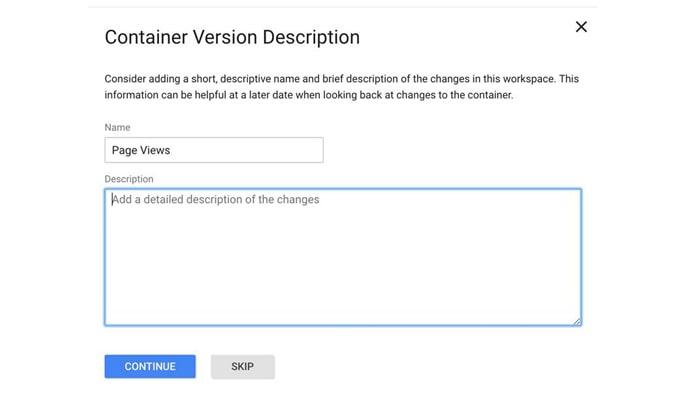 گوگل تگ منیجر چیست - Container Version Description