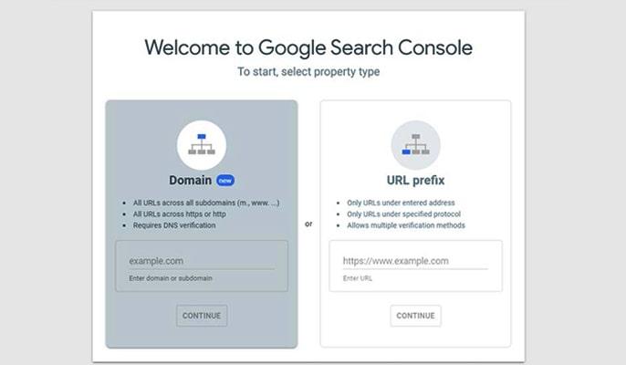 ثبت سایت در سرچ کنسول - DOMAN OR URL Prefix